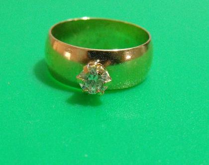 טבעת גולדפילד 18k חתומה וינטג' מתכת פליז נחושת לא כסף מידה 7.5 מעוצבת אבן נדירה מיוחדת במינה תכשיט מתנה