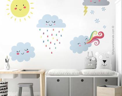 מדבקת קיר טיפות גשם | מדבקות קיר לחדרי ילדים | מדבקות קיר טיפות | מדבקות קיר מזג אוויר | מדבקות קיר ענן | מדבקות קיר עננים