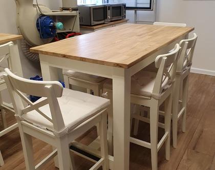 שולחן בר. שילוב בוצר אלון ורגלי עץ. שולחן בר עץ מלא דגם איתמר