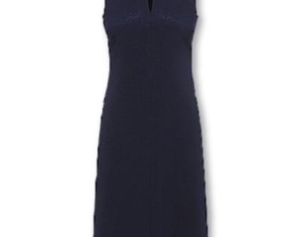 שמלה חגיגית בצבע כחול נייבי ללא שרוולים (הלרי)