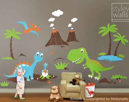 מדבקת קיר דינוזאורים | מדבקות קיר דינו | מדבקות קיר לחדרי ילדים | מדבקות קיר לבנים | מדבקות קיר חיות