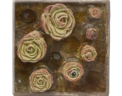 אריח בעבודת יד, בתלת מימד-פרחים