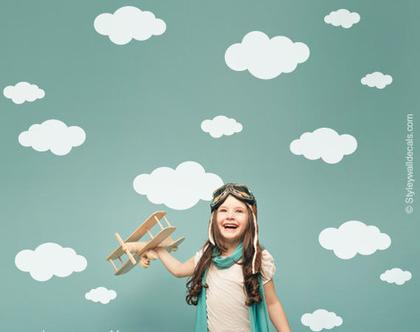 מדבקת קיר עננים | מדבקות קיר לחדרי ילדים | מדבקות קיר לעיצוב החדר | מדבקות קיר מזג אוויר | מדבקות קיר ענן | מדבקות קיר עננים