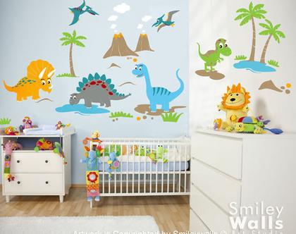 מדבקת קיר דינוזאורים גדולים | מדבקות קיר דינו | מדבקות קיר לחדרי ילדים | מדבקות קיר לבנים | מדבקות קיר חיות