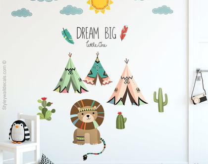 מדבקת קיר חיות השבט| מדבקות קיר אוהל | מדבקות קיר לחדרי ילדים | מדבקות קיר אריה | מדבקות קיר חיות