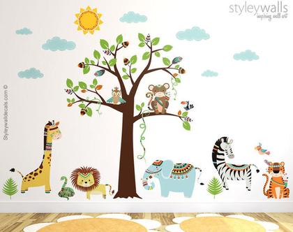 מדבקת קיר חיות השבט | מדבקות קיר חיות גומגל | מדבקות קיר לחדרי ילדים | מדבקות קיר אריה | מדבקות קיר פיל גירפה