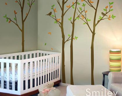 מדבקת קיר עצים בחורף | מדבקות קיר עצים | מדבקות קיר עץ | מדבקות קיר יער