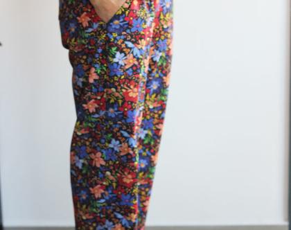 מכנסיים פרחוניים בגזרת גירלפרנד