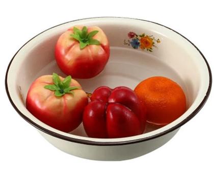 """קערת אמייל חדשה צלחת תותים / תפוחים 28 / 26 ס""""מ קוטר רטרו עיצוב בית כלי מטבח"""