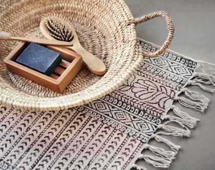 שטיחון 60X90 | שטיח לחדר | שטיח קטן | שטיח כותנה | שטיח לחדר הרחצה | פרחוני | שטיח פרחוני| שטיח אוריינטלי