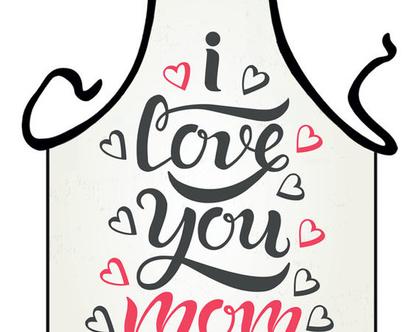 סינר מתנה | סינר חגיגי | סינר מודפס - I LOVE YOU MOM