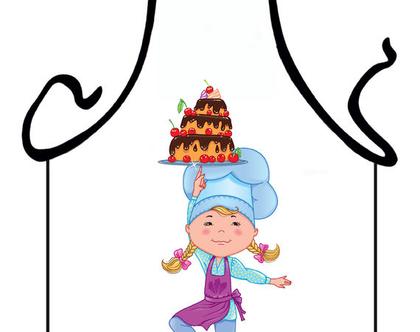 סינר מתנה | סינר חגיגי | סינר מודפס - קונדיטורית קטנה