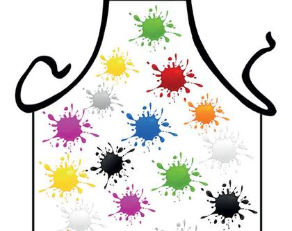 סינר מתנה | סינר חגיגי | סינר מודפס - כתמי צבע 1