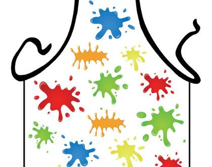סינר מתנה | סינר חגיגי | סינר מודפס - כתמי צבע 2