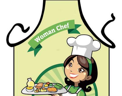 סינר מתנה | סינר חגיגי | סינר מודפס - WOMAN CHEF