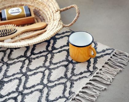 שטיחון 60X90 | שטיח לחדר | שטיח קטן | שטיח כותנה מונוכרומטי| שטיח לחדר הרחצה | שחור לבן | שטיח שחור לבן | שטיח מונוכרומטי