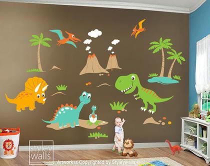 מדבקת קיר דינוזאורים גדולים | מדבקות קיר דינו | מדבקות קיר לחדרי ילדים | מדבקות קיר לבנים | מדבקות קיר דינוזאור