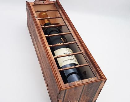תיבה מעוצבת לבקבוק יין - חלונות