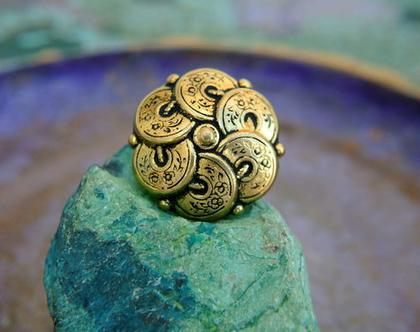 """כפתורי מתכת עתיקים וינטג' בצורת פרח בצבע זהב עם שחור, גודל 28 מ""""מ, כפתור גדול"""