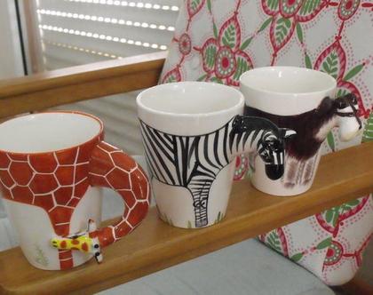"""ספל כוס קרמיקה ספלים כוסות קרמיקה גדולים (400 מ""""ל) חדשים! יש צורת ג'ירפה (2) כלב שנאוצר (1) וזברה (1)"""