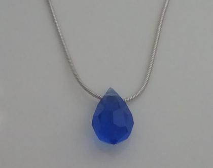 שרשרת כחולה - שרשרת כחול וכסף - שרשרת קריסטל - שרשרת נייבי