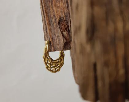 עגילי זהב 18 קראט בסגנון צועני, עגילים בסגנון אתני, עגילים קלועים