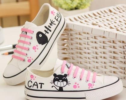 סניקרס לנשים, נעלי בנות, סניקרס לנערות, נעליים לאימהות, דגם חתול (מידה 35 מתאים למידות 33-34 ישראליות)