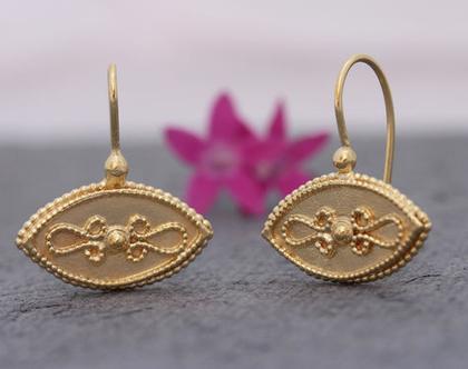 עגילי זהב תלויים, עגילי זהב צהוב, עגילים בסגנון וינטאג, עגילים מיוחדים לאישה, עגילים אתניים, עגילי זהב עבודת יד, עגילים אלגנטים לאישה