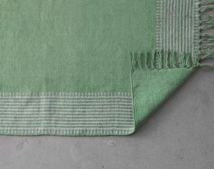 שטיחון 60X90 | שטיח לחדר | שטיח קטן | שטיח כותנה ירוק| שטיח לחדר הרחצה |שטיח מעוטר |שטיח חלק