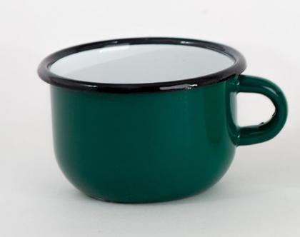 ספל אספרסו אמייל ירוק כהה
