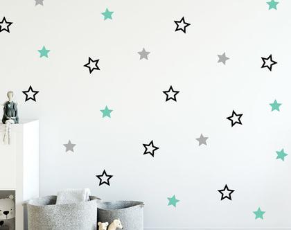 מדבקות קיר כוכבים חלולים ומלאים | מדבקות קיר לחדרי ילדים | מדבקות קיר לחדרי תינוקות | מדבקות לילדים | מדבקות לעיצוב חדרי ילדים