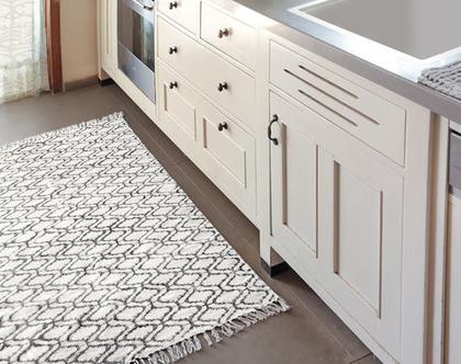שטיח 90X150 | שטיח לחדר | שטיח קטן | שטיח כותנה מונוכרומטי| שטיח לחדר הרחצה | שחור לבן | שטיח שחור לבן | שטיח מונוכרומטי