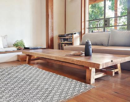 שטיח 150X200 | שטיח לחדר | שטיח גדול | שטיח כותנה מונוכרומטי| שטיח לחדר הרחצה | שחור לבן | שטיח שחור לבן | שטיח מונוכרומטי