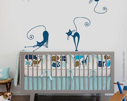 מדבקת קיר חתולים | מדבקות קיר לחדרי בנות בנים | מדבקות קיר לעיצוב החדר ילדים | מדבקות קיר פרפר | מדבקות קיר חתול