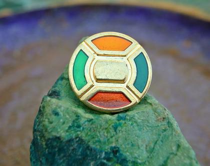 """6 כפתורי מתכת וינטג' בצבע זהב עם קישוטים צבעוניים, גודל 25 מ""""מ"""