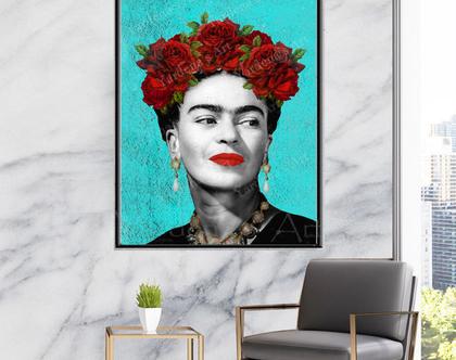 תמונת קנבס - פרידה קאלו | עיצוב מקורי| תמונה מיוחדת לסלון | תמונה של פרידה קאלו | תמונה צבעונית לסלון | תמונה מיוחדת לעיצוב הבית
