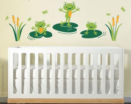 מדבקת קיר צפרדעים | מדבקות קיר לחדרי בנות בנים | מדבקות קיר לעיצוב החדר ילדים | מדבקות קיר צפרדע | מדבקות קיר חיות
