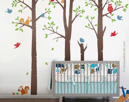 מדבקות קיר עצי יער עם חיות | מדבקות קיר חיות יער | מדבקות קיר לעיצוב החדר ילדים | עצי ליבנה וחיות יער