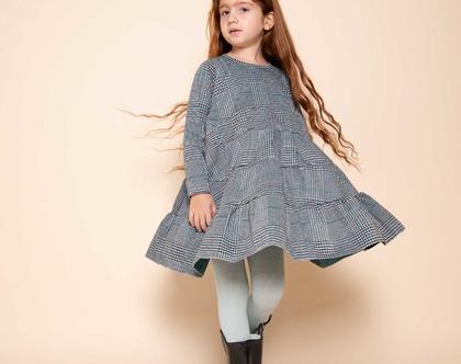 שמלת קומות לילדה , נטלי משובצת