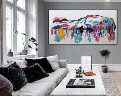 """""""נינה"""" - ציור בעבודת יד של אישה עם צבעים שונים .."""