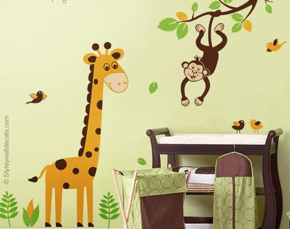 מדבקת קיר ג'ירפה | מדבקות קיר לחדרי ילדים | מדבקות קיר קוף | מדבקות קיר ענף
