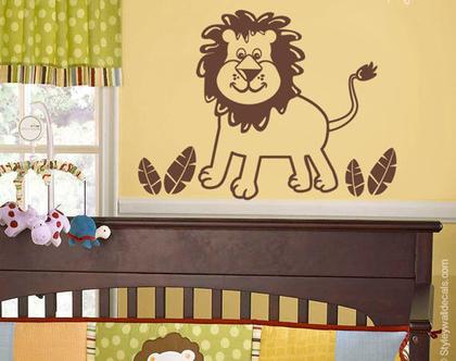 מדבקת קיר אריה קטן | מדבקות קיר לחדרי ילדים | מדבקות קיר לעיצוב החדר ילדים | מדבקות קיר ספארי | מדבקות קיר לחדרי תינוקות