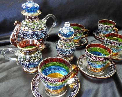 סט כלי הגשה מזכוכית לתה | סט כלים מזכוכית | כלי מטבח | כלים מעוצבים | כלים מיוחדים | כלי הגשה |