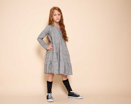 שמלת קומות לילדה , נטלי אפורה
