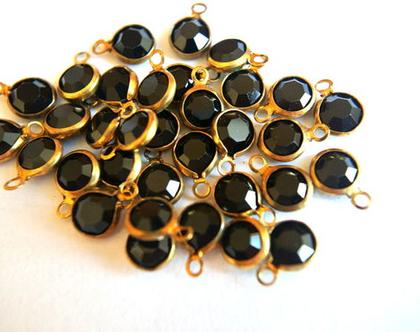 חרוזי קריסטל סוורובסקי, 6 חרוזי וינטג' קריסטל בצבע שחור עם מתכת מסביב, לתכשיטנות, 6 חרוזים