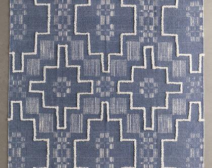 שטיח בוהו כחול מעושן