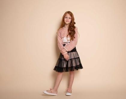 חצאית טול שחורה לילדה , חצאית קומות טול