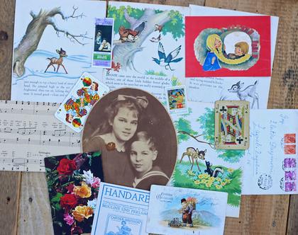 ערכת וינטאג' קטנה ליצירה מס' 37. גלויות וינטאג'. חומרי וינטאג'. דפי מוזיקה עתיקים. מכתבים עתיקים. סקראפבוקינג. ספרים עתיקים.
