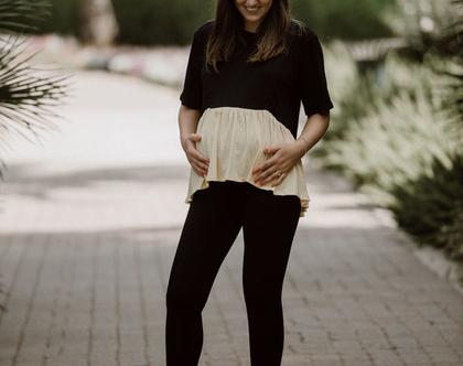 חולצת אביגיל צבע שחור- צהוב