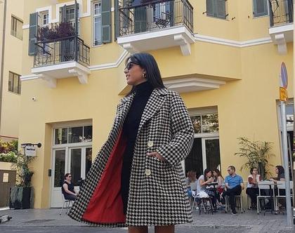 ג'קט משובץ, מעיל ארוך לנשים, מעיל מחמם, ג'קט אלגנטי, ג'קט לאירוע, ג'קט עם ביטנה, ג'קט עם כיסים גדולים, מידה M, ג'קט וינטג', ג'קט לחורף